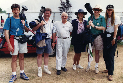 George with the photo crew (and a poser) at the 1993 U.S. Open Golf Tournament, one of George's last big assignments before retiring.
